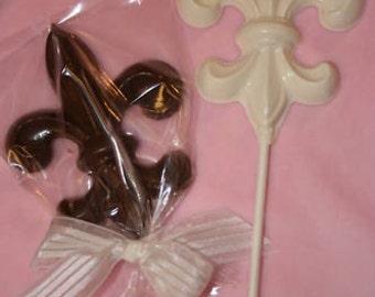 20 Chocolate FLEUR DE LIS Lollipop Party Favors