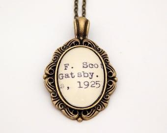 The Great Gatsby necklace, library card catalog jewelry, Dewey Decimal, Gatsby jewelry, book lovers jewelry, literary jewelry, book jewelry