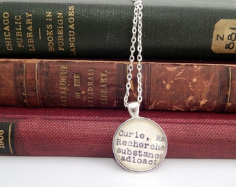 Marie Curie necklace, jewelry under 20, scientist jewelry, science gifts, book lovers necklace, women in science, inspirational gift