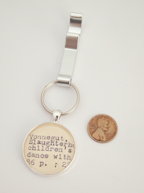 vonnegut keychain bottle opener key chain by bythebookboutique. Black Bedroom Furniture Sets. Home Design Ideas