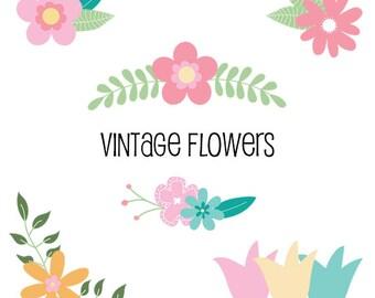 Vintage Flower clipart-set of 14