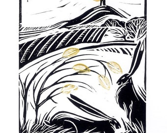Original Hand-made linocut print Glastonbury Tor Hares, HARES wildlife fine art, lino block print , hares and rabbits