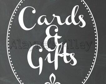 Cards and Gifts Calkboard print.  8x10 digital download printable design Reception decor