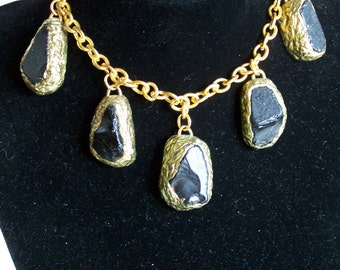 Necklace cabochons black glass paste OOAK statement necklace