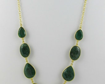 925 Sterling Silver Emerald Cut Necklace & earring set |  Emerald Necklace earring set | Solid Silver Emerald Necklace and earring