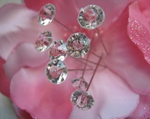 WEDDING BOUQUET JEWELS Gems Bridal Floral Flower Crystal Pins Centerpiece Bling 100 Count Classy Reception Wedding Cake  Decor Party Favor !