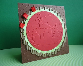 Christmas card in brown and red with reliefs or Christmas Card in brown and green with reliefs. Chrsitmas Card.