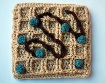 Crochet Blueberry Waffle Pot Holder, Trivet, Hot Pad