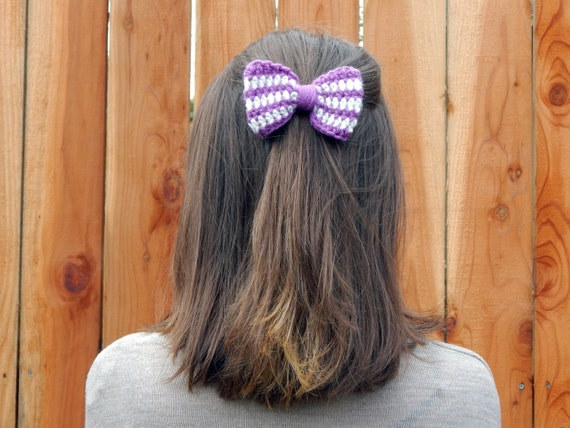 Crochet Hair Bow, Crochet Striped Hair Bow, Purple and White Hair Clip