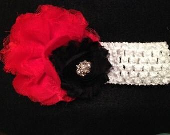 Red and Black Crochet Headband