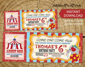 Instant Download- Carnival Circus birthday theme Birthday party Ticket invitation-PDF format-for personal use only