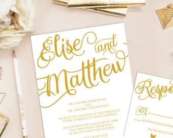 Elise Printable Wedding Invitation (DIY Invitation), Golden Shine Invitation
