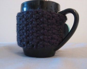 Black Crochet Coffee Mug Sleeve - Coffee Cup Cozy with blue button - Travel Mug Cozy - Mug Sleeve - Coffee Mug Cozy - Mug Cozy