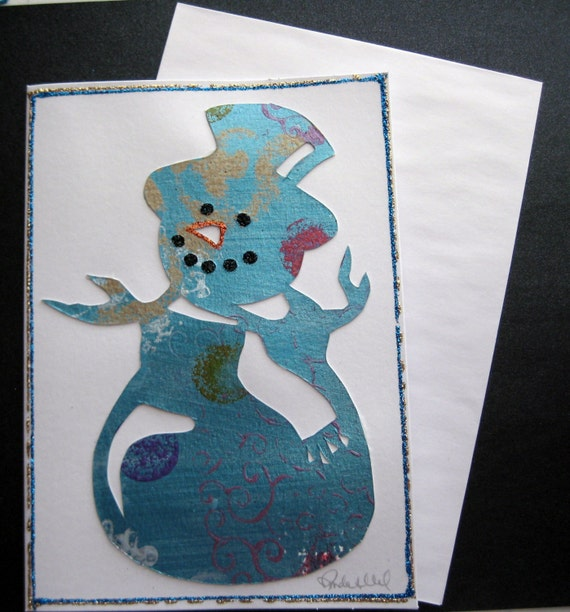 Items similar to handmade christmas card snowman on etsy for Handmade snowman christmas cards