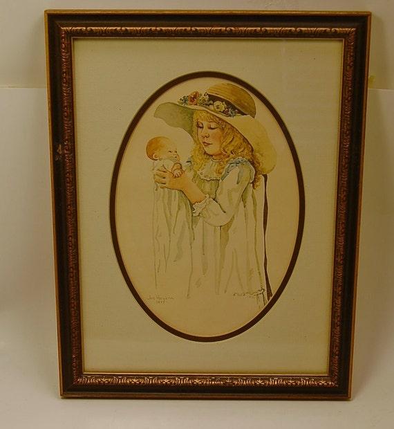 Jan Hagara Lithograph: Jan Hagara Print Little Girl Holding Doll Signed Dated 1977