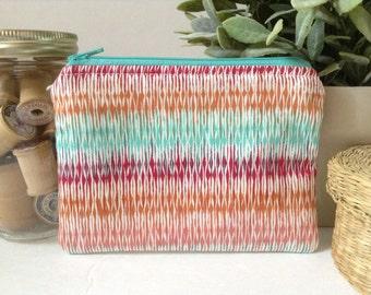 Small Zipper Bag, Zipper Pouch, Makeup Bag, Cosmetics Case, Clutch Purse, Knitting Notions Bag, Gadget Case, Peach, Aqua, Copper