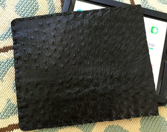 Genuine Full Quill Ostrich iPad Sleeve • Black • REDUCED!