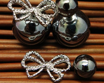 SALE! Double sided Earrings Charcoal Color Combo Set