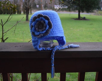 Girls Blue and Gray Flower Earflap Hat - Ready to Ship