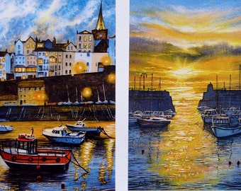"""Tenby and Saundersfoot in Sale."""" Five Pounds Off Framed Pair of Beach, Boat, Coast and Seascape signed prints."""