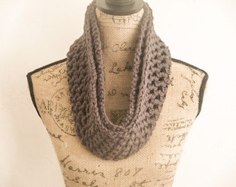 Ready to Ship! Infinity Crochet Scarf, Dark Gray Crochet Scarf, Women's Crochet Scarf, Fall Scarf, Chunky Crochet Scarf, Gifts for her