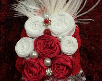 Beautiful Flower Rosette Headband. Handmade with feathers, pearls and lace.
