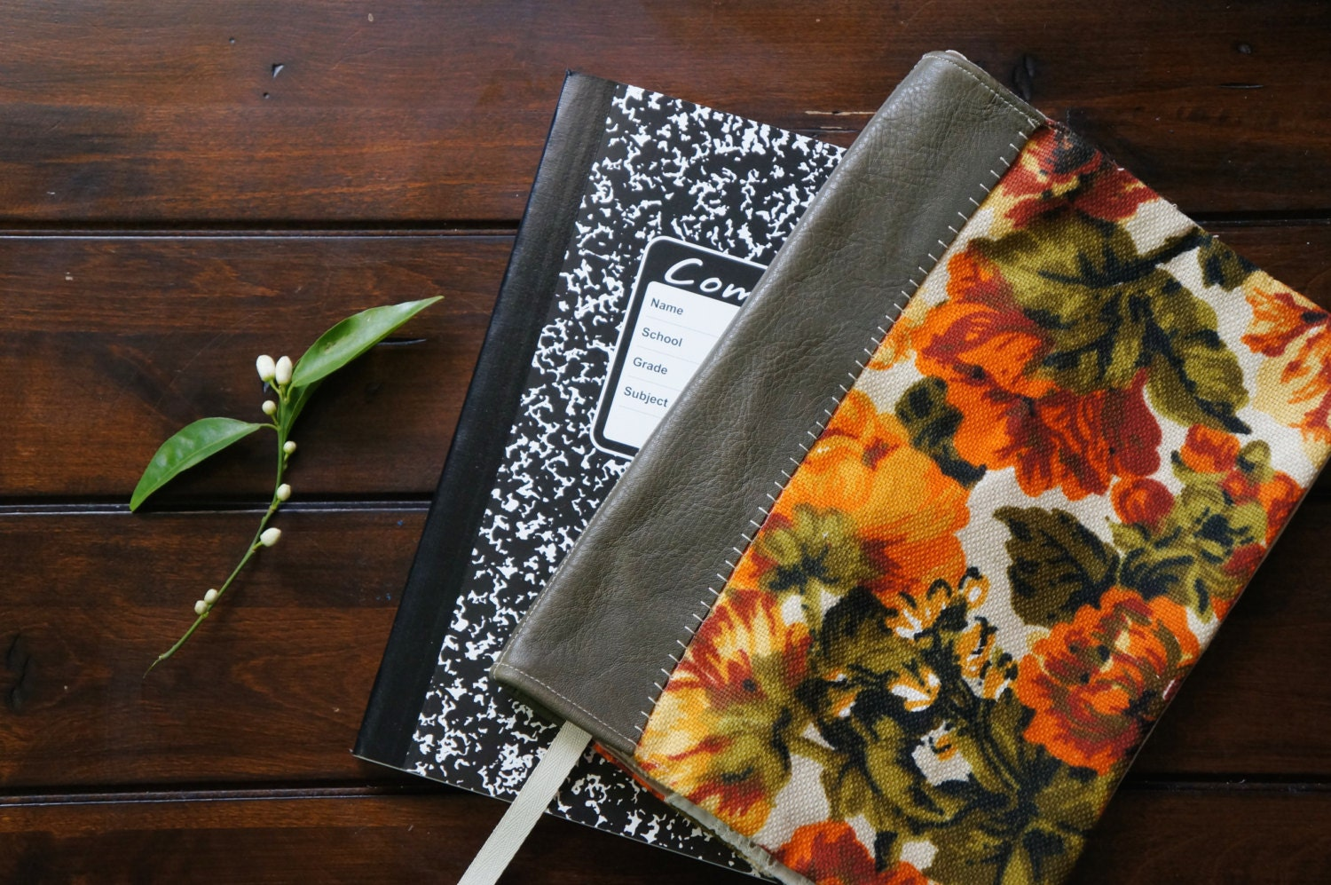 Fabric Cover For Composition Book : Fabric cover for composition notebook leather spine floral