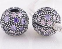 2014 NEW 100% 925 Sterling Silver Purple Cosmic Stars Clip Charm Bead Women Jewlery Fits European Style Bracelets Necklaces & Pendants KT082
