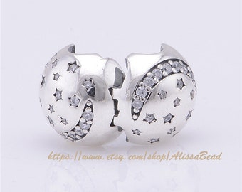 Authentic 925 Sterling Silver Twinkling Night Clip  with Clear Cz Charm Bead Fits European style Bracelet For Women  CL035