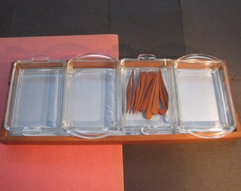 Danish teak hors d'oeuvres or bar tray with a selection of teak picks.
