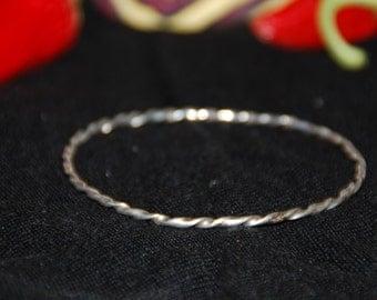 2mm silver twist bracelet