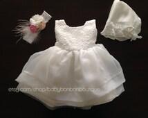 baptism dress and rosette headband set, off white baby girl dress, baby girl dress and hat, christening dress