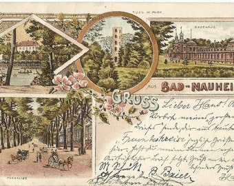 Gruss aus Bad-Nauheim, Germany - Antique 1899 Used Postcard