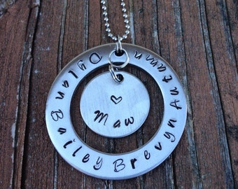Hand stamped washer pendant