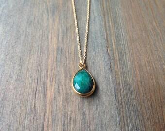 Emerald Teardrop Pendant Necklace