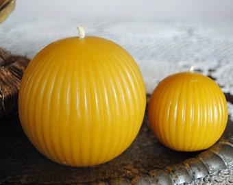 Beeswax Giant and Small Ball Candles - Xmas, Christmas Table Centre Piece - Giant and Small Sphere Beeswax Candles
