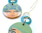 Illustrated wooden earrings. Woman portrait-mandala, handmade one of a kind