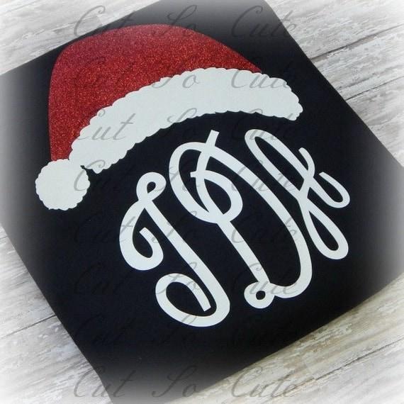 Santa Hat Christmas Monogram Topper SVG DXF Cut by CutSoCute