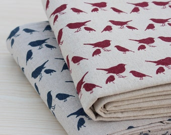 Magpies print linen Fabric, zakka Cotton Linen Fabric,Curtain fabric/ / tablecloth - 1/2 yard
