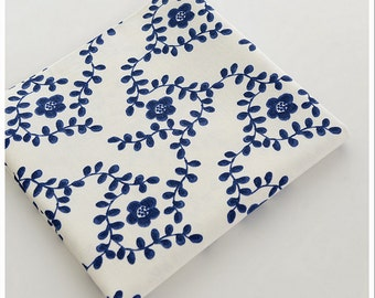 Blue-and-white Cotton Linen Fabric,Curtain fabric/ bag/ quilting/ table runner/ pillow cover - 1/2 yard