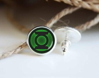 Green lantern earrings, silver plated stud posts or leverback dangles, superhero jewelry