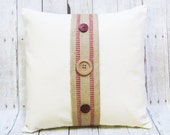 Tan and Red Pillow Cover - Natural Color Pillow with Tan & Red Woven Jute Trim - Buttons - Decorative Accent Pillow - Christmas Gift