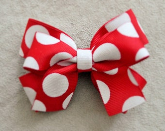 Holiday Red Polka Dot Hair Bow Clip