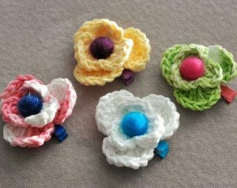 Set of 4 Crocheted Flower Hair Clips