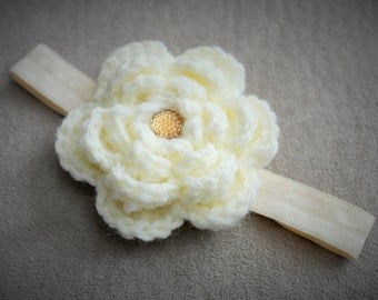 Baby Cream Crochet Flower Headband