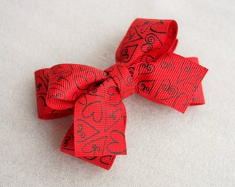 Red and Black Heart Hair Bow Clip