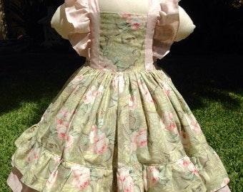 Country Garden Girls Handmade Flutter Dress.
