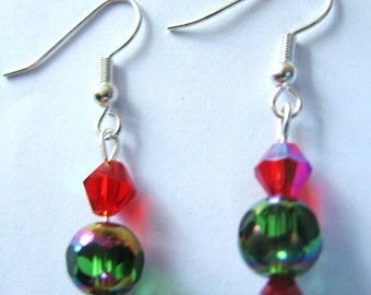 RED & GREEN Faceted Crystal BEAD Earrings