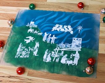 Manger Scene Nativity Advent Christmas Decor Art Print - Hand Painted and Hand-Pulled Silkscreen on Muslin