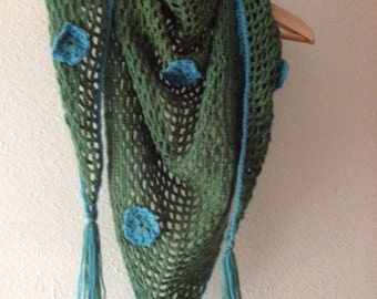 Shawl, green with blue accents